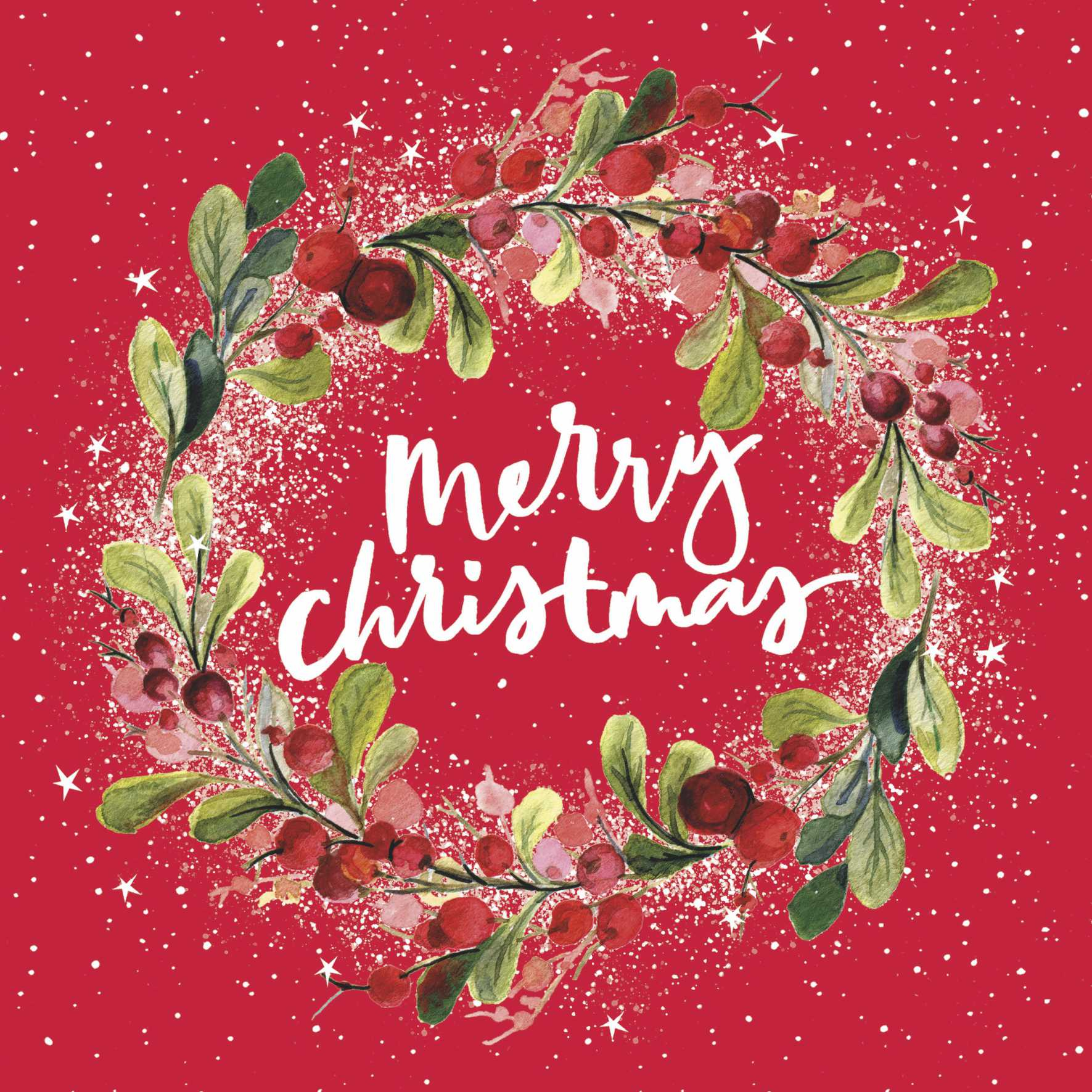 Red Wreath Christmas Cards (Pack of 10)
