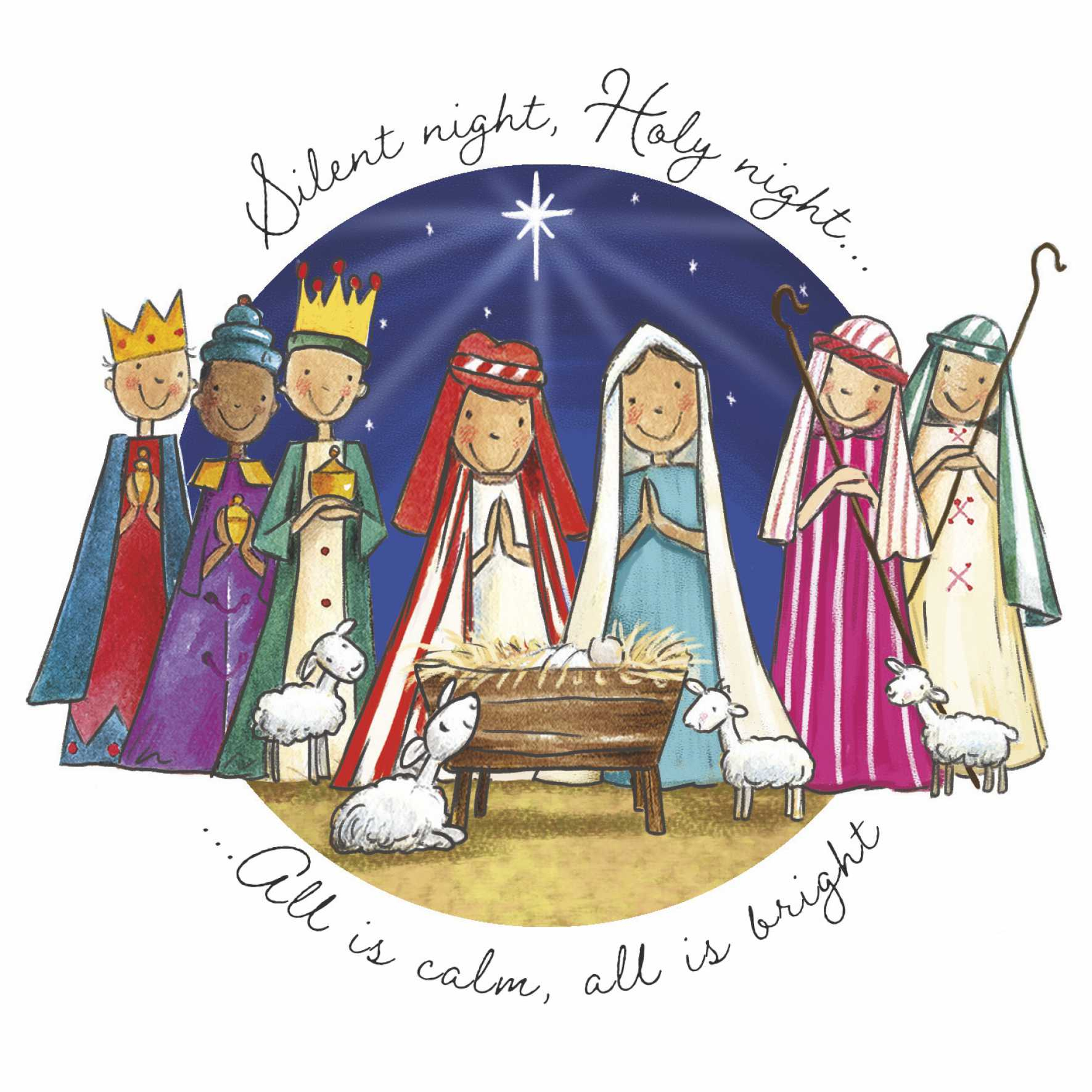 Silent Night Christmas Cards (Pack of 10)