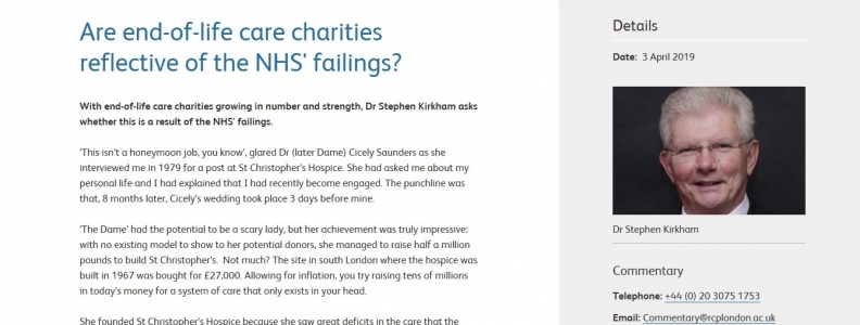 Chairman's piece – Are end of life care charities reflective of the NHS' failings?
